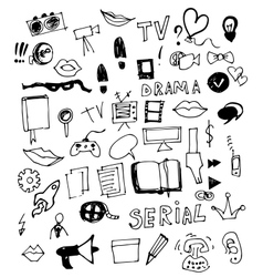 Visual Media Doodle vector image