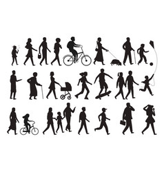 walking persons silhouette group people young vector image