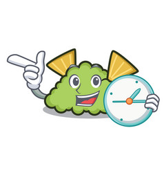 With clock guacamole character cartoon style vector