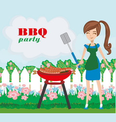 Woman cooking on a grill - invitation to party vector