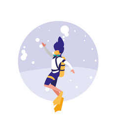 woman practicing diving avatar character vector image