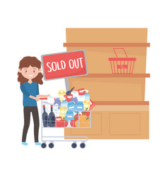 Woman shopping with cart shelf sold out banner and vector