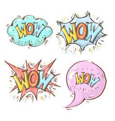 wow speech bubbles cloud bubble gum and vector image