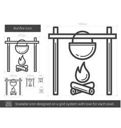 bonfire line icon vector image
