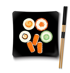 Japanese seafood sushi on a black square plate vector image vector image