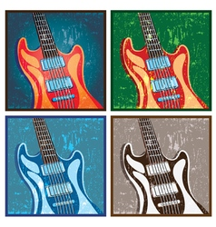 old poster with a guitar vector image