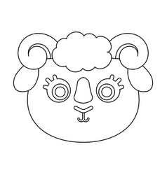 ram muzzle icon in outline style isolated on white vector image vector image