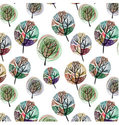 seamless pattern with colorful trees vector image vector image
