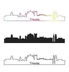 Trieste skyline linear style with rainbow vector image vector image