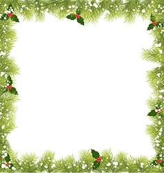 Christmas fir tree branch frame vector