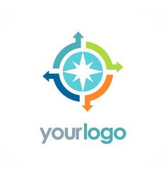 circle arrow compass logo vector image vector image