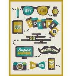 Hipster cafe menu - set of design elements vector image vector image