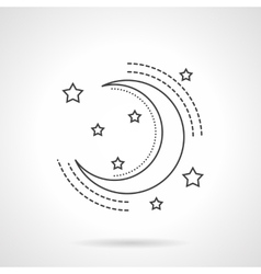 Moon and stars flat line icon vector image vector image