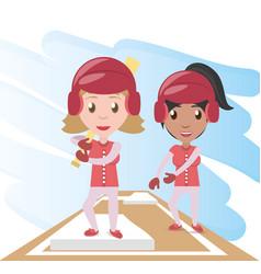 Pretty woman athlete playing baseball vector