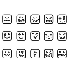 square scary face icons set vector image vector image