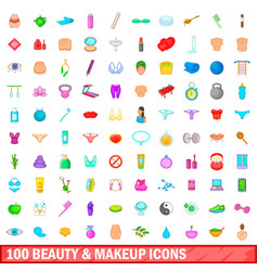 100 beauty and makeup icons set cartoon style vector image