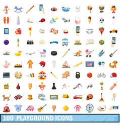 100 playground icons set cartoon style vector image