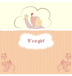 Baby shower card with little girl sleep vector image
