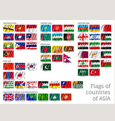 big set of flags of asia vector image vector image