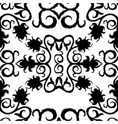 black seamless lace floral pattern on white vector image