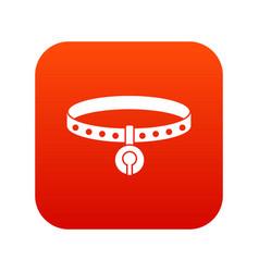 cat collar icon digital red vector image