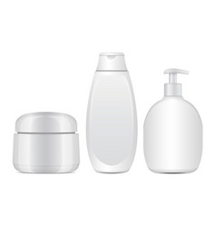 set of white cosmetic bottles realistic tube or vector image