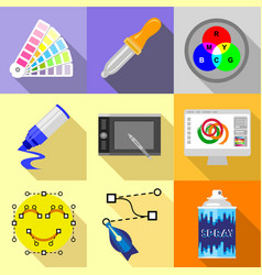 artist equipment icons set flat style vector image vector image