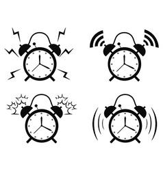 black alarm clock icon vector image