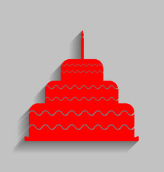 cake with candle sign red icon with soft vector image vector image
