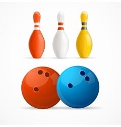 Group of Bowling Pins and Balls vector image