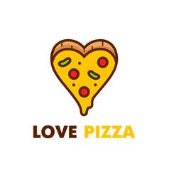 love pizza logo design modern line vector image vector image