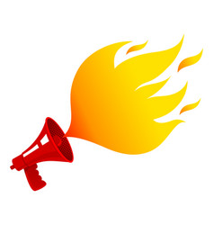 megaphone with fire vector image vector image