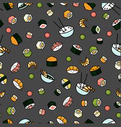 modern seamless sushi pattern vector image vector image