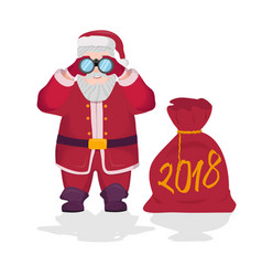 santa claus holding binoculars in his hands with vector image