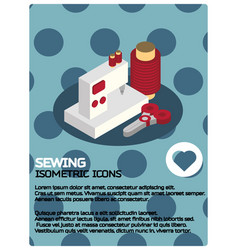 sewing color isometric poster vector image