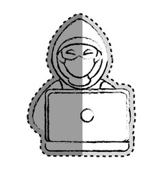 Sticker monochrome blurred of hacker and laptop vector