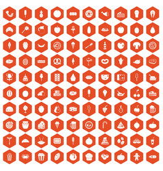 100 tasty food icons hexagon orange vector