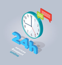 24 hours service and support online vector