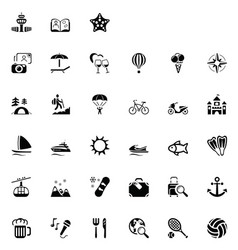 33 black travel icons 02 vector image