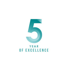 5 year excellence template design vector