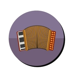 Accordion with keyboard in round frame vector