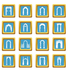 arch types icons set sapphirine square vector image