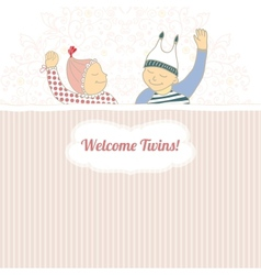 Bashower card with twins little boy and girl vector