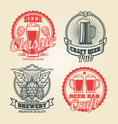 Beer and pub vintage label set vector