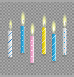birthday cake candles realistic set isolated vector image
