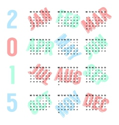black european calendar of 2015 year on colored vector image