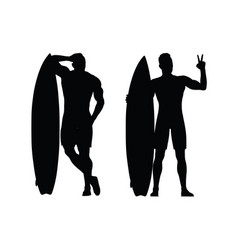 black silhouette of the surfer on a white vector image