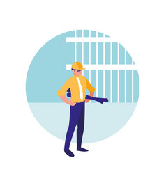 builder man with blueprints avatar character vector image