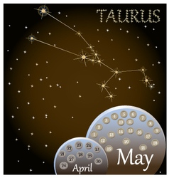Calendar of the zodiac sign Taurus vector image