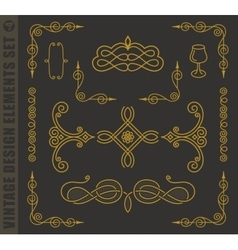 Calligraphic design elements baroque set vector image